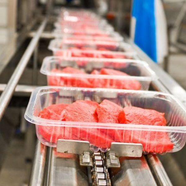 Fleischverpackungen Auf Fliessband